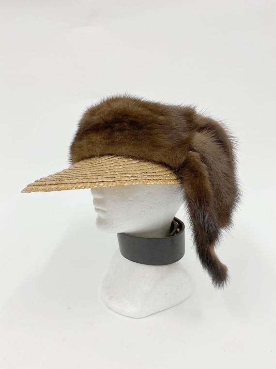 80s Vintage Mink straw cap