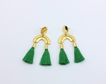 Green Tassel Fringe Fashion Earrings, Handmade Jewelry by Detail London.