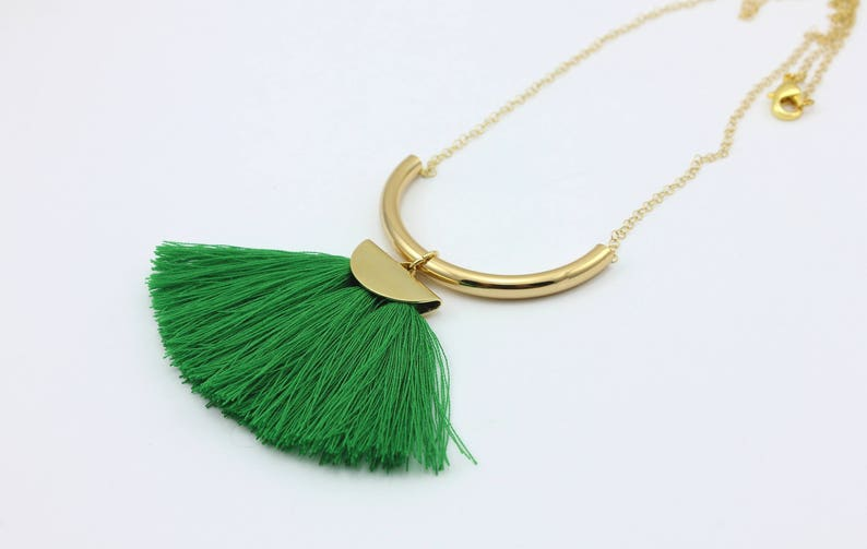 Green Fringe Tassel Necklace with Handmade Tassels Handmade Fashion Jewelry by Detail London.