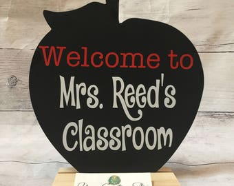 Teacher gift + back to school + teacher appreciation + classroom sign + personalized classroom chalkboard + apple chalkboard + welcome sign