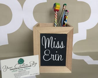 Personalized Pencil Holder + Unfinished Wood Pencil Holder + Desk Accessory  + Teacher Gift + New Office Gift + Personalized Gifts For Work