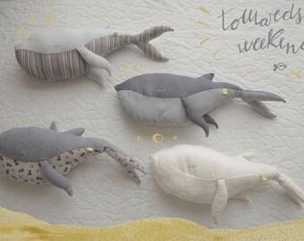 Fabric Whales handmade with organic fabrics