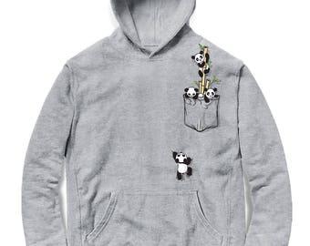 60b5f9c0d Cute Pocket Panda Playing - Men Hoodie, Women Hoodie, Kids Hoodie, Graphic  hood, French Terry Hooded Sweatshirt, Hoody Gift