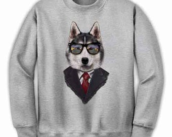 Mens Christmas Husky B1461 Gray Fleece Vest Hoodie