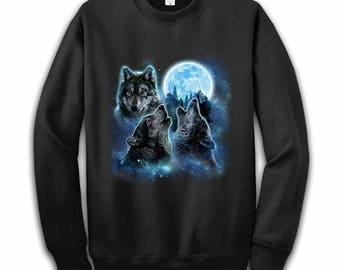 280cd416 Three Wolves Howling and Moon, Wolf – Men, Women, Kids French Terry Sweat  Shirt, Graphic Pullover Sweater, Sweatshirt, Gift