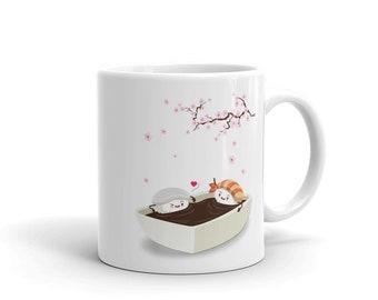 Sakura Hanami with Ika and Ebi Sushi, Cherry Blossom - Mug