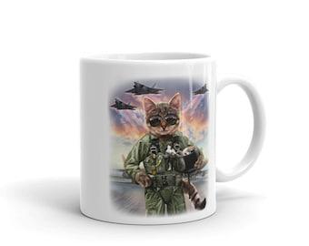 Cat as Jet Fighter Pilot, Air Force - Mug