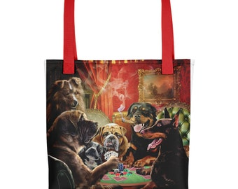 Dog in Poker Card Tournament, Gambling Luck - Tote bag