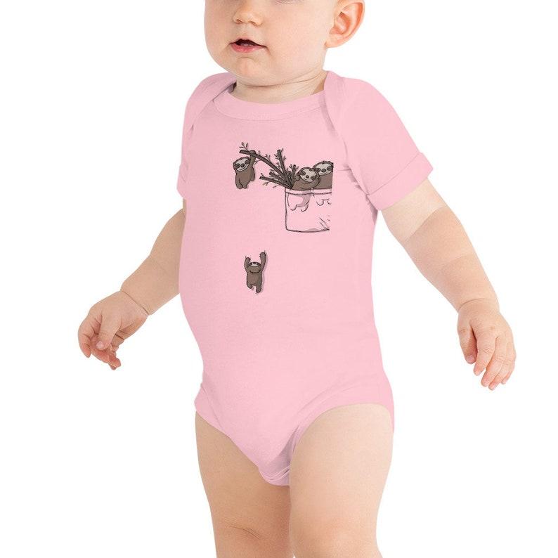 Baby T-Shirt Cute Pocket Sloth Playing