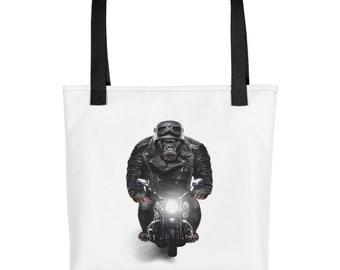 Biker Gorilla in Leather Jacket Ride Motorcycle - Tote bag