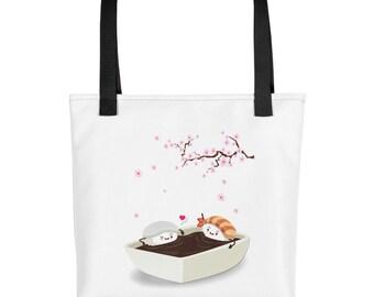 Sakura Hanami with Ika and Ebi Sushi, Cherry Blossom - Tote bag
