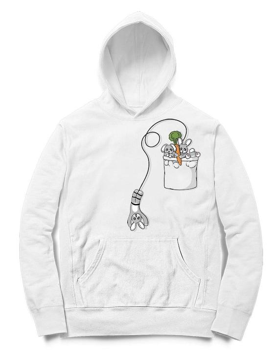 Cute Bunny Playing, Bungee Jumping, Pocket Rabbit Men Hoodie, Women Hoodie, Kids Hoodie, Graphic hood, French Terry Hooded Sweatshirt