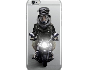 Biker Wolf in Leather Jacket Ride Motorcycle - iPhone Case