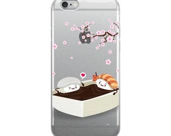 Sakura Hanami with Ika and Ebi Sushi, Cherry Blossom - iPhone Case