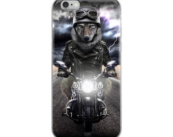Grumpy Wolf Ride Motorcycle Cruising on Highway  - iPhone Case