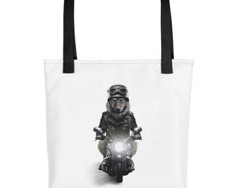 Biker Wolf in Leather Jacket Ride Motorcycle - Tote bag