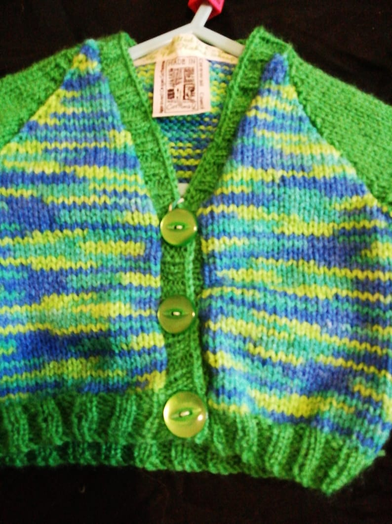 Green and Blue cardigan 0-3 months Hand Knitted