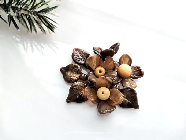 Brown with gold Set of 8 pc Glass Flower Beads for Jewelry Making