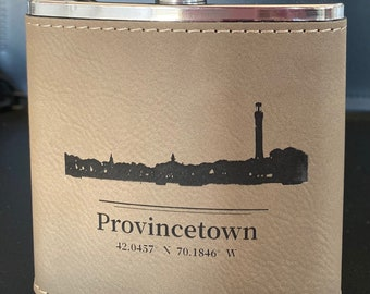 """Provincetown Stainless Steel Leatherette Hip Flask Laser Engraved 6 Ounces 4"""" x 4.5"""" Light Brown Choose from Four Designs"""