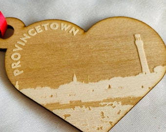 Provincetown Heart Ornament with Pilgrim Monument and Cape Cod Bay Shoreline Made from Sustainable Wood
