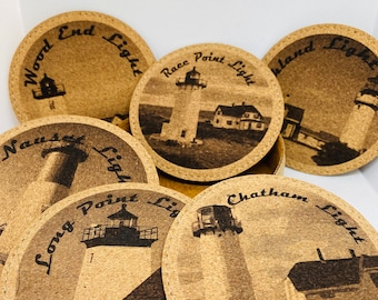 """Set of 6 Lighthouses of Cape Cod Cork Coaster Set with Holder 4"""" Rounds"""