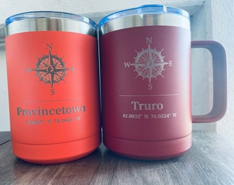 Nautical Compass with Coordinates Mug with Slider Lid 15 Ounce Polar Camel Vacuum Insulated Laser Engraved Can be Personalized