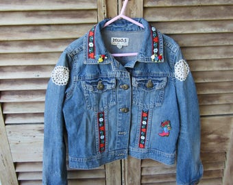 "Girls up cycled  ""Mudd"" brand jean jacket"