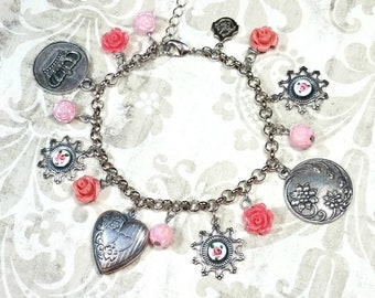 Silver Tone Charm Bracelet, Floral Charm Bracelet, Jewelry Gifts For Women, Silver Costume Jewelry Charm Bracelet, Floral Charms