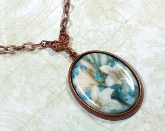 Lily Necklace, Floral Porcelain Pendant, Floral Vintage Style Necklace, Antiqued Copper, Unique Artisan Necklace