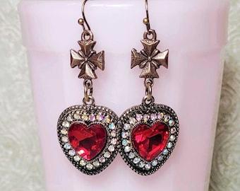Gothic Cross Dangle Earrings, Red Rhinestone Heart Earrings, Vintage Style Earrings, Statement Earrings, Medieval Style Earrings