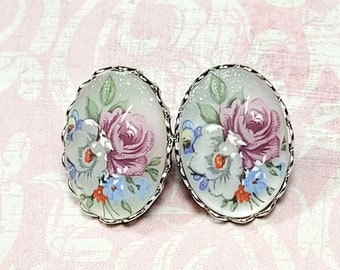 Floral Cameo Earrings, Silver Tone Post Earrings, Antique Style Earrings, Vintage Style Earrings, Rose Cameo Earrings