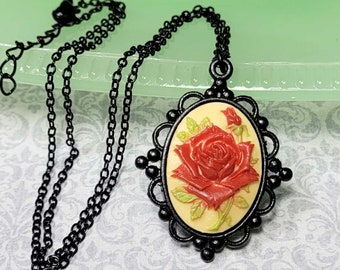Vintage Style Rose Necklace, Red Rose Cameo Necklace, Black Finish Jewelry, Rose Jewelry, Rose Lover Gift