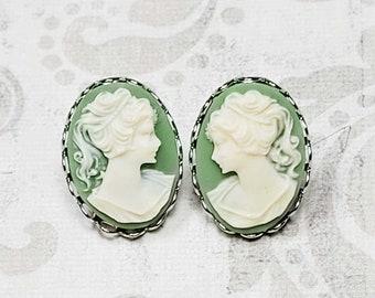 Green Cameo Earrings, Post Earrings, Victorian Earrings, Antique Style Earrings, Vintage Style Costume Jewelry, Earrings For Women