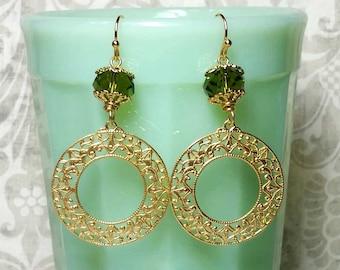 Filigree Circle Earrings, Gypsy Earrings, Vintage Style Dangle Earrings, Costume Jewelry, Earrings For Women
