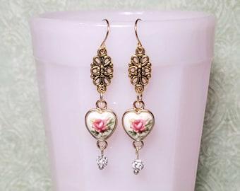 Romantic Style Heart Earrings, Heart Dangle Earrings, Pink Rose Heart Charms, Earrings For Women, Vintage Style Earrings