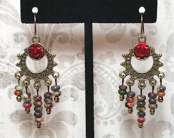 Mardi Gras Jasper Dangle Earrings, Gypsy Earrings, Bohemian Earrings, Gemstone Chandelier Earrings, Red Rose Jewelry