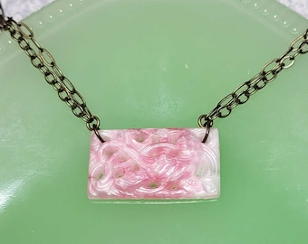 Pink Bohemian Glass Necklace, Multi Chain, Vintage Molded Glass Necklace, Minimalist Vintage Style Jewelry, Pink Necklace