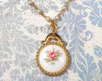 Pink Rose Victorian Pendant, Glass Pearl Chain, Rose Cameo, Antique Style Necklace, Jewelry For Women