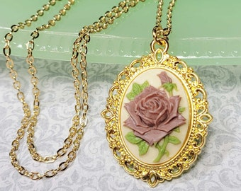 Lilac Purple Rose Cameo Necklace, Victorian Rose Necklace, Antique Style Necklace, Rose Necklace, Rose Pendant