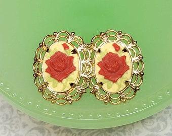 Rose Cameo Earrings, Red Rose Earrings, Vintage Style Post Earrings, Rose Jewelry, Earrings For Her
