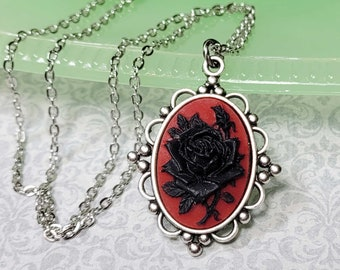 Black Rose Necklace, Gothic Rose Necklace, Black and Red Necklace, Vintage Style Necklace, Black Rose Jewelry