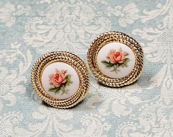 Vintage Style Post Earrings, Pink Rose Earrings, Victorian Earrings, Porcelain Cameo Earrings, Gift For Her, Jewelry For Women