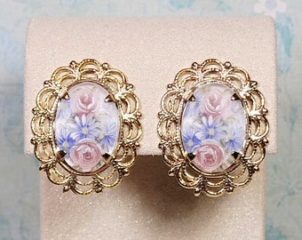 Vintage Style Post Earrings, Antique Style Earrings, Floral Cameo Earrings, Victorian Earrings, Earrings For Women
