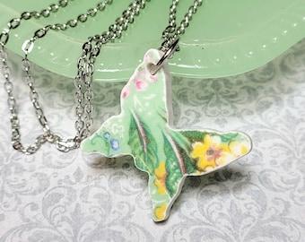 Broken China Necklace, Butterfly Necklace, Broken China Pendant, Minimalist Vintage Style Jewelry, Butterflies, Broken China Jewelry