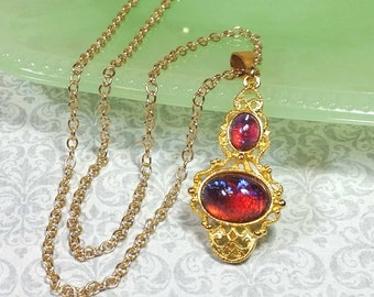 Dragons Breath Necklace, Red Dragons Breath Pendant, Christmas Jewelry, Red Costume Jewelry, Red Necklace