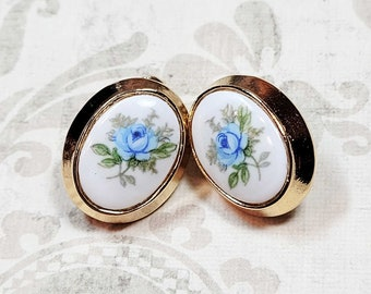 Blue Rose Cameo Clip On Earrings, Non Pierced Earrings, Antique Style Earrings, Non Pierced Ears, Costume Jewelry, Clip-On Earrings