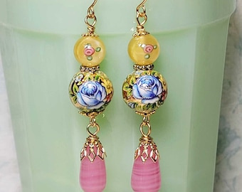 Long Dangle Earrings, Colorful Glass Bead Earrings, Vintage Style Earrings, Costume Jewelry, Gift For Her