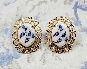 Blue Willow Cameo Earrings, Lovebird Earrings, Blue Willow Earrings, China Pattern Jewelry, Post Earrings
