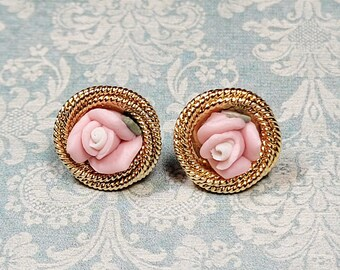 Pink Porcelain Rose Earrings, Pink Rose Earrings, Post Earrings, Porcelain Bisque Pink Roses, Rose Jewelry, Costume Jewelry, Gift For Mom
