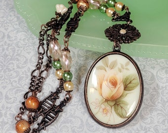 Peach Rose Cameo Necklace, Porcelain Rose Pendant, Vintage Style Costume Jewelry, Necklaces For Women